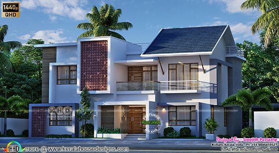 3 bedroom modern mixed roof house