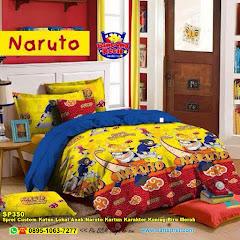 Sprei Custom Katun Lokal Anak Naruto Kartun Karakter Kuning Biru Merah