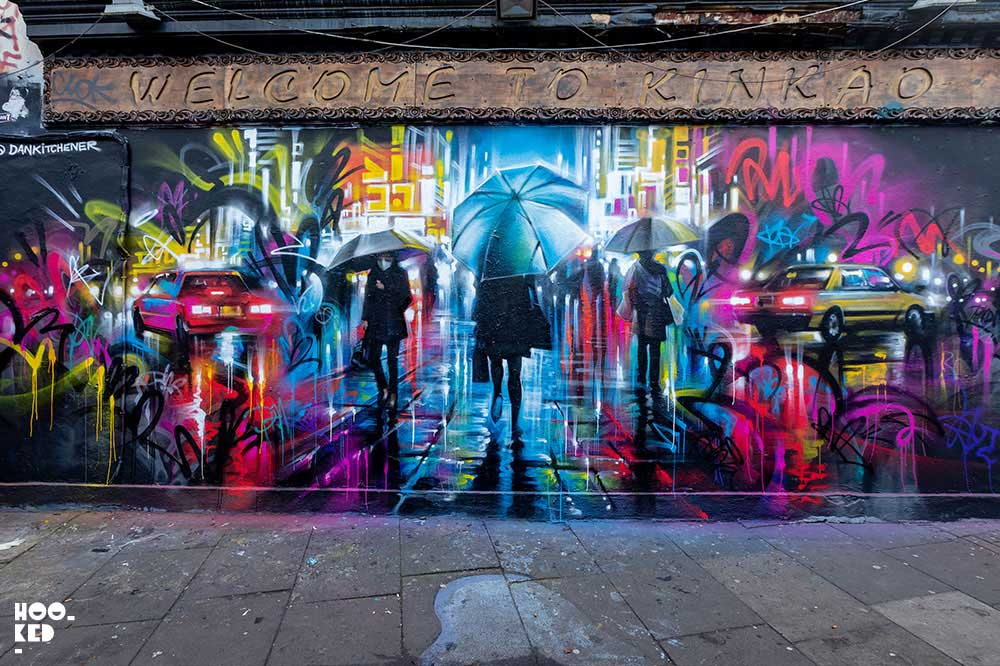 Brick Lane Street Art Mural by artist  Dan Kitchener