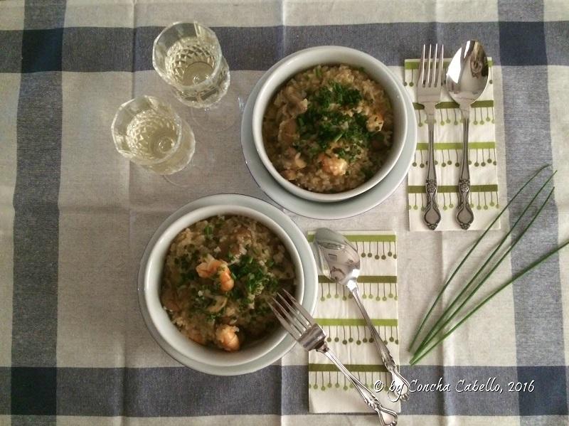 risotto-portobello-langostinos-mesa