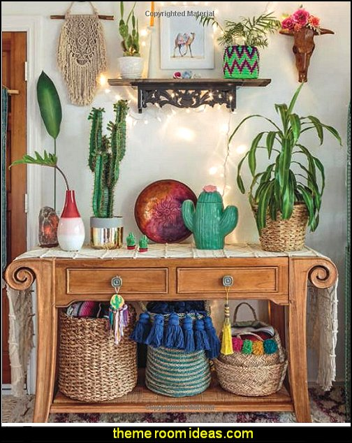 cactus decor boho decorating Global Bohemian, rustic style  boho style decor