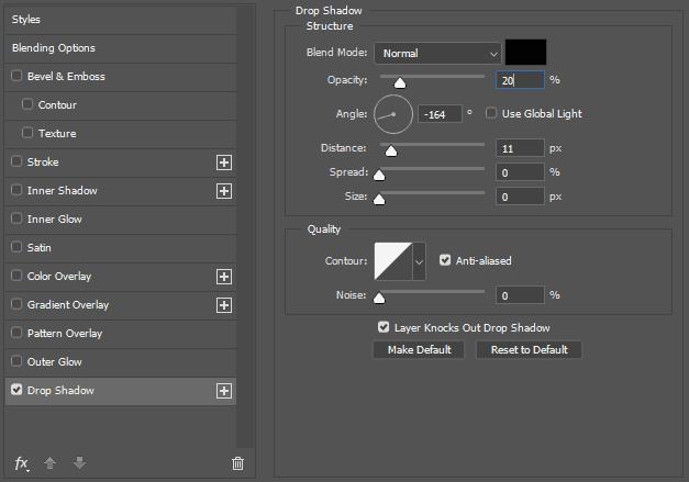 Membuat efek bayangan foto dengan Drop Shadow