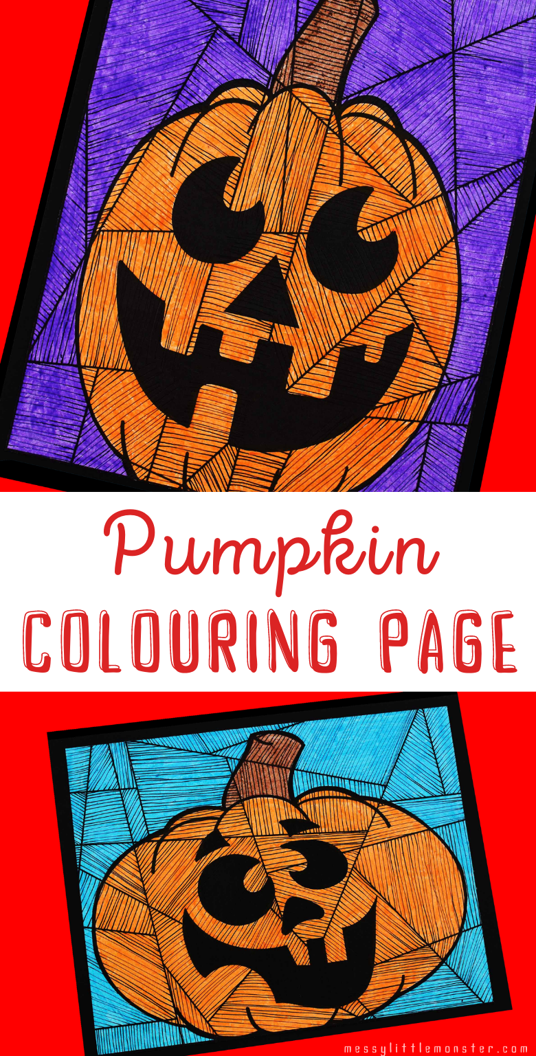Pumpkin Colouring Page Line Art Messy Little Monster