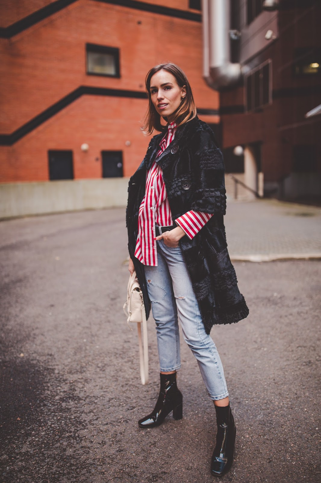 fur coat stripe shirt jeans boots outfit fall
