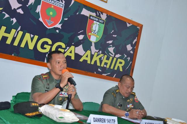 Permantap Persiapan Pelaksanaan HUT TNI ke 74, Danrem 141/Tp Pimpin Rakor di Makodim 1407/Bone