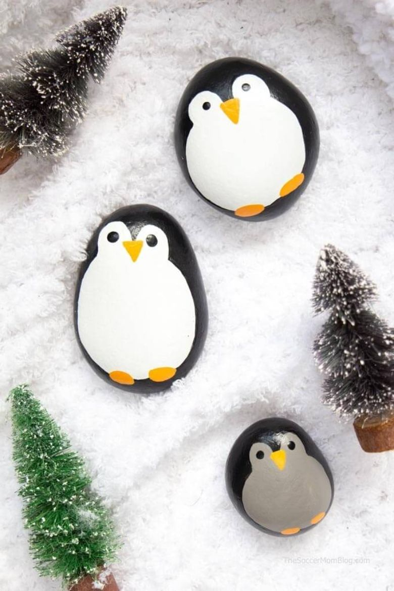 penguin rock painting ideas
