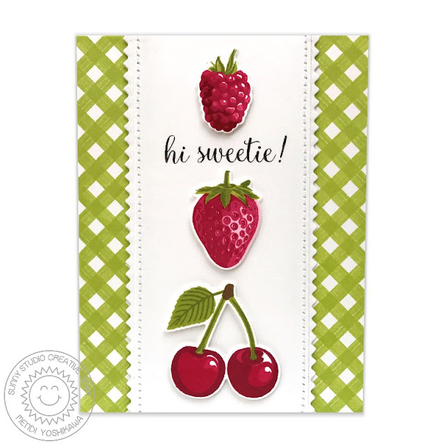 Sunny Studio: Berry Bliss Color Layering Strawberry, Cherry & Raspberry Card with Green Gingham Borders using Background Basics stamps