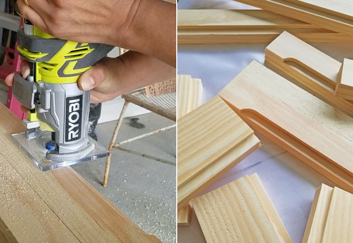 Using a Ryobi router for building shaker style cabinet doors.