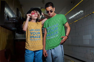 """Classic T-Shirts printed with """"Upload Your Image"""" worn by two models."""