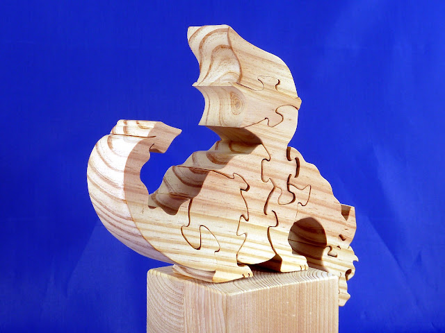 Right Rear - Wooden Toy Puzzle - Dragon - Yellow Pine - Unfinished - 7.5x6x15 Inches
