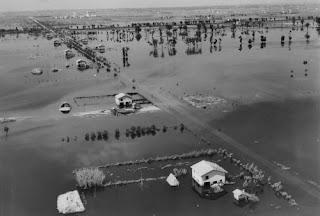 Aspecto del Agro Pontino durante la inundación