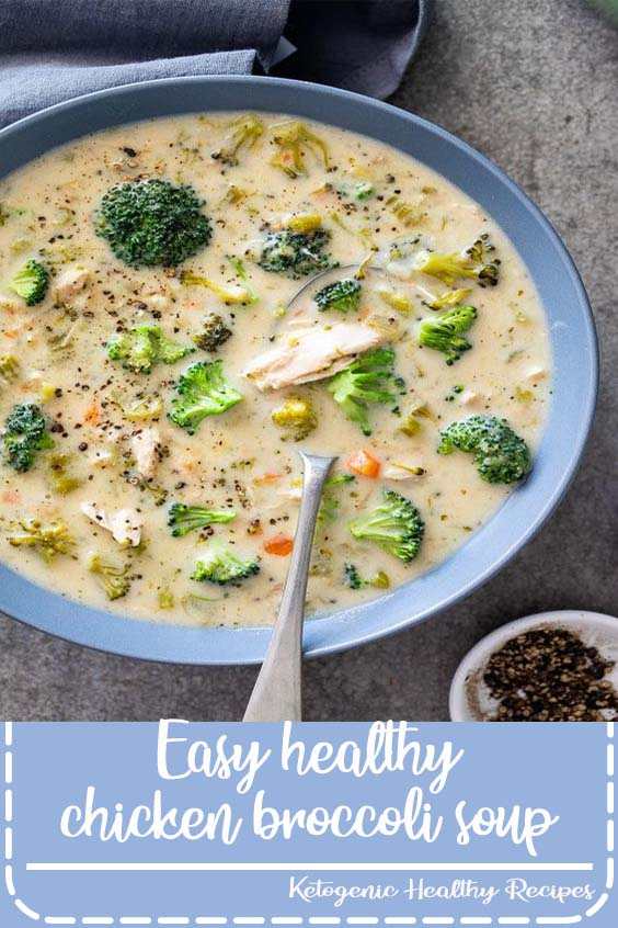 This easy healthy chicken broccoli soup is the perfect simple recipe for cozy winter dinners. Easy comfort food in a bowl served with crusty bread. #broccolisoup#chickensoup #healthysouprecipe#easysouprecipe #comfortfood#glutenfreerecipe