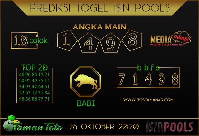 Prediksi Togel ISIN TAMAN TOTO 26 OKTOBER 2020