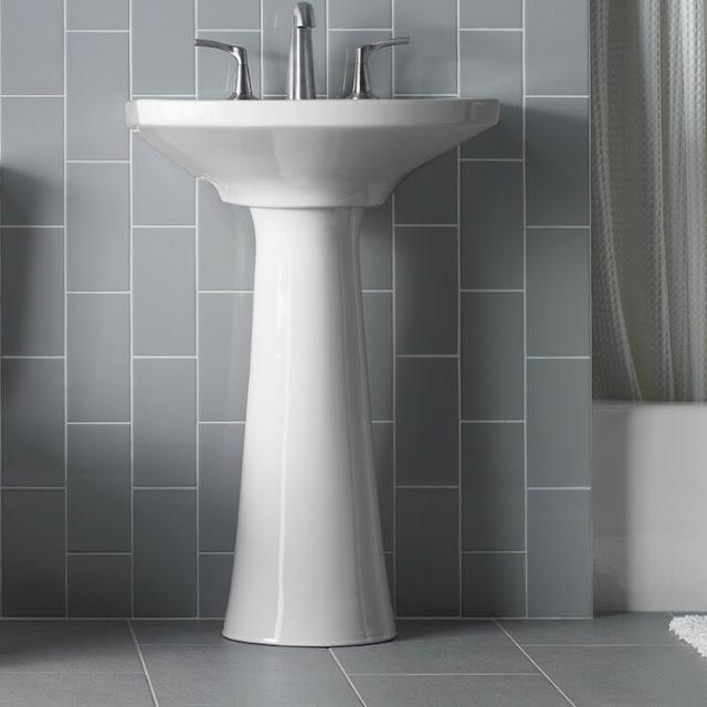 K-2362-8-0 Cimarron Ceramic 23 Pedestal Bathroom Sink with Overflow