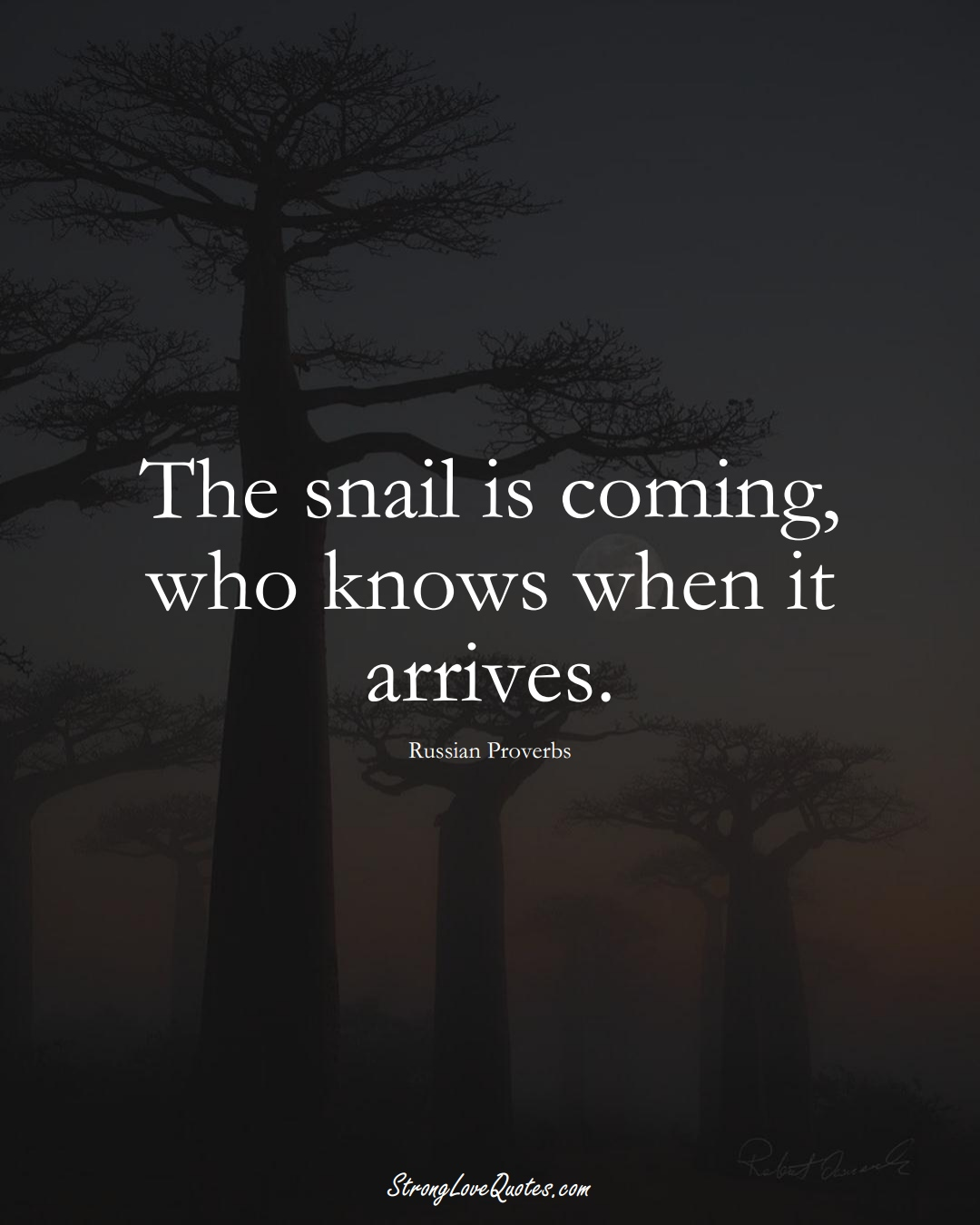 The snail is coming, who knows when it arrives. (Russian Sayings);  #AsianSayings