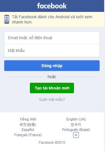 Đăng nhập Facebook a