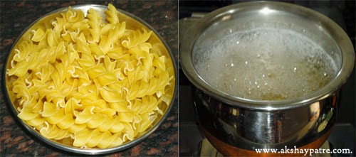 pasta boiled in salted water