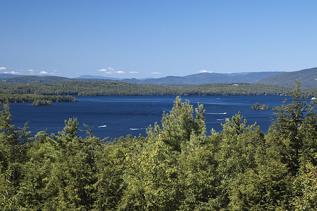 A lush New Hampshire lake and forest landscape