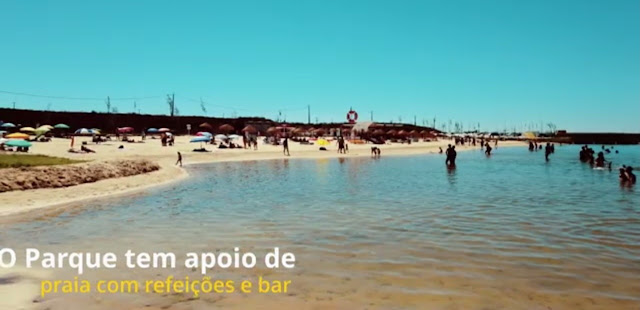 O Parque tem apoio de praia com refeições e bar