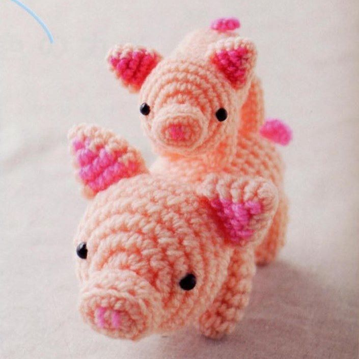 1000 схем амигуруми на русском: Мама свинка и поросенок