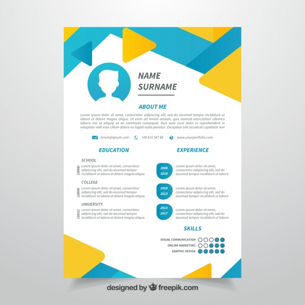 abstract cv blue and yellow template free