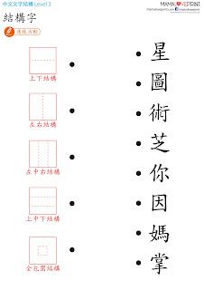 MamaLovePrint 工作紙 - 漢字的結構 四 : 字型尺 + 全包圍結構字 字形結構 中文幼稚園工作紙  Kindergarten Chinese Worksheet Free Download for Homeschooling Learning Activities #MamaLovePrint