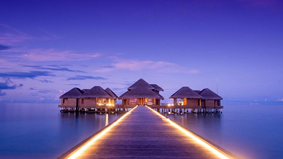 Beach, Resort, Hut, Dock, Bridge, Ocean, Scenery, 8K, #4.2332