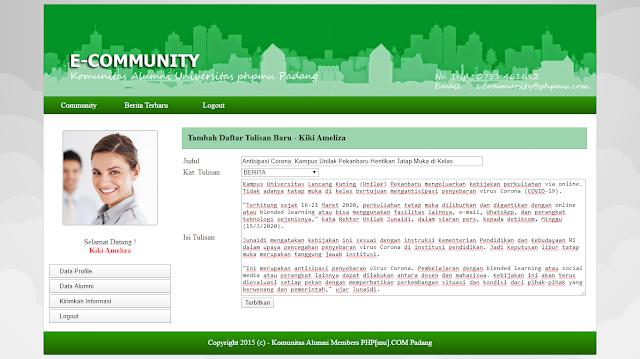 Website Sistem Informasi Komunitas Alumni Support PHP 7