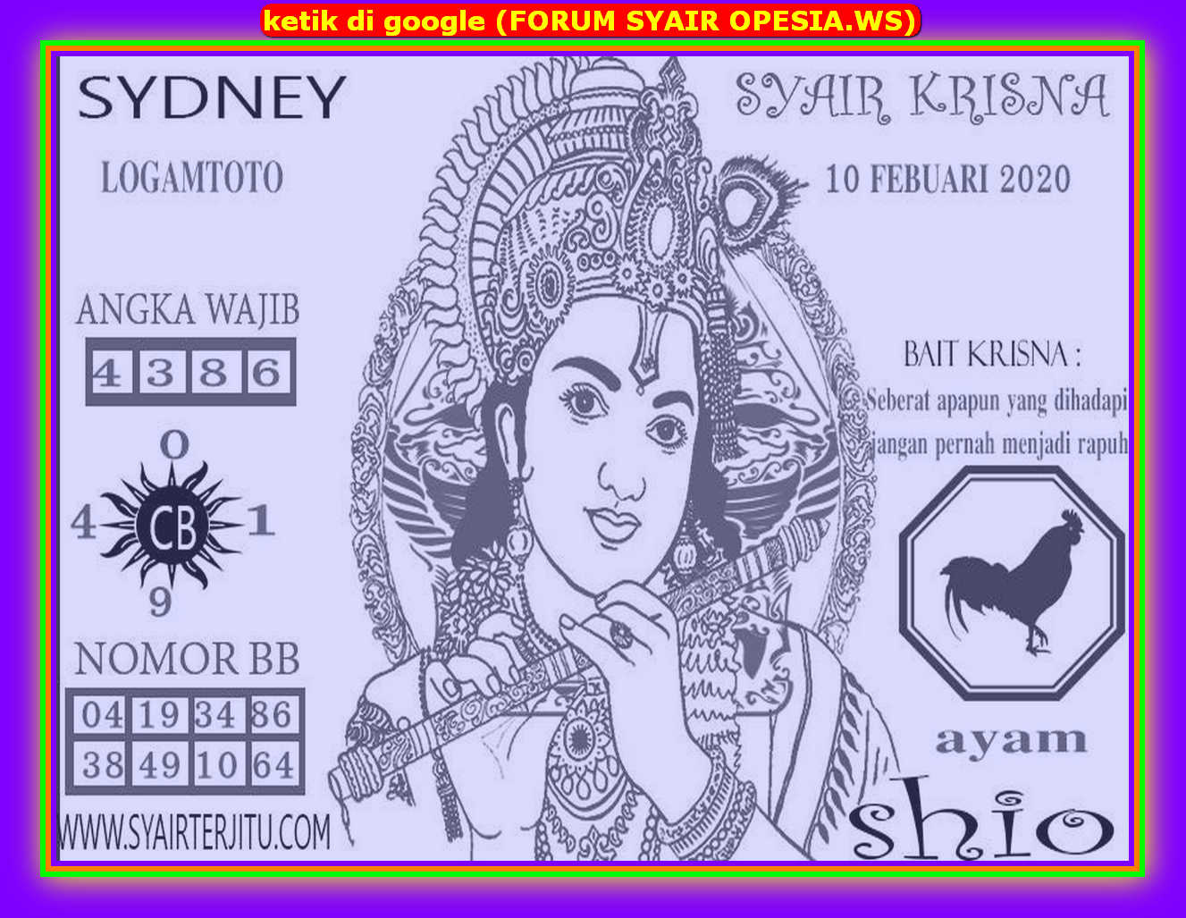 Kode syair Sydney Senin 10 Februari 2020 78