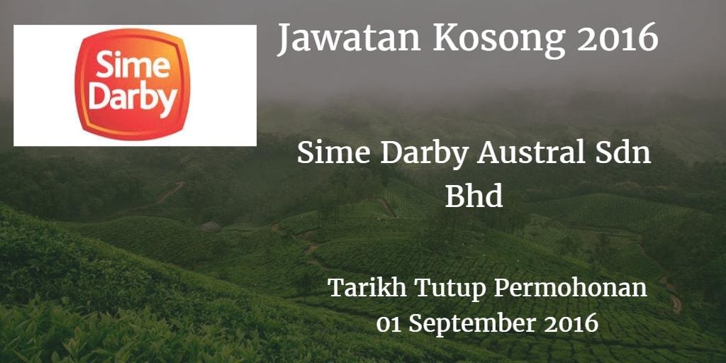 Jawatan Kosong Sime Darby Austral Sdn Bhd  01 September 2016