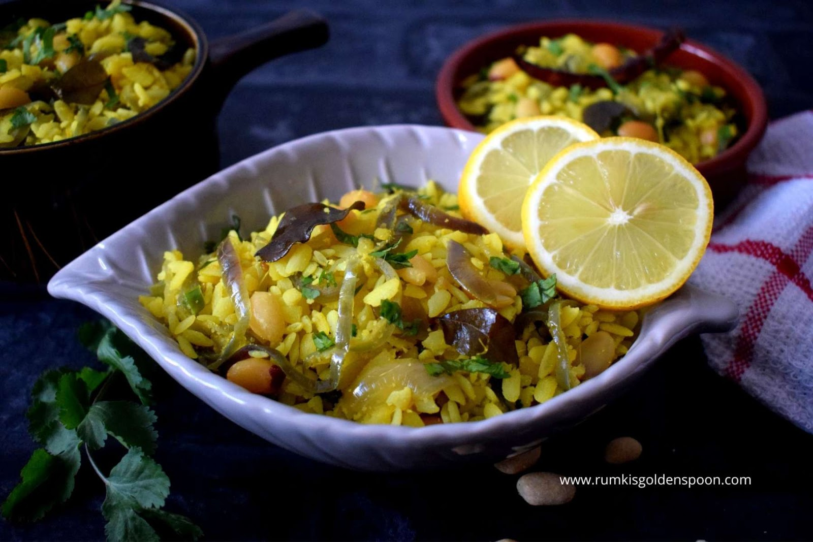 Indian Recipe, Vegetarian, Vegan, Breakfast, Snacks, Kanda Poha - Maharashtrian Breakfast, Quick and easy, Rumki's Golden Spoon, Rice flakes, Beaten Rice, Flattened rice, Rumki's Golden Spoon