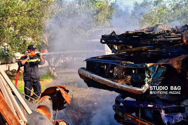 Πυρκαγιά σε συνεργείο αυτοκινήτων στο Ναύπλιο (βίντεο)