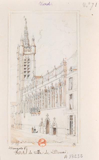 Adrien Dauzats - L'hôtel de ville de Douai - Paris - Bn, département des Estampes (Pour les Voyages pittoresques de Taylor et Nodier.)