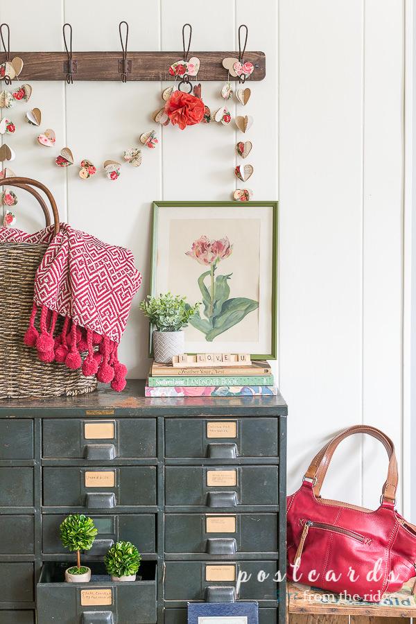 vintage metal cabinet with vintage tulip botanical print