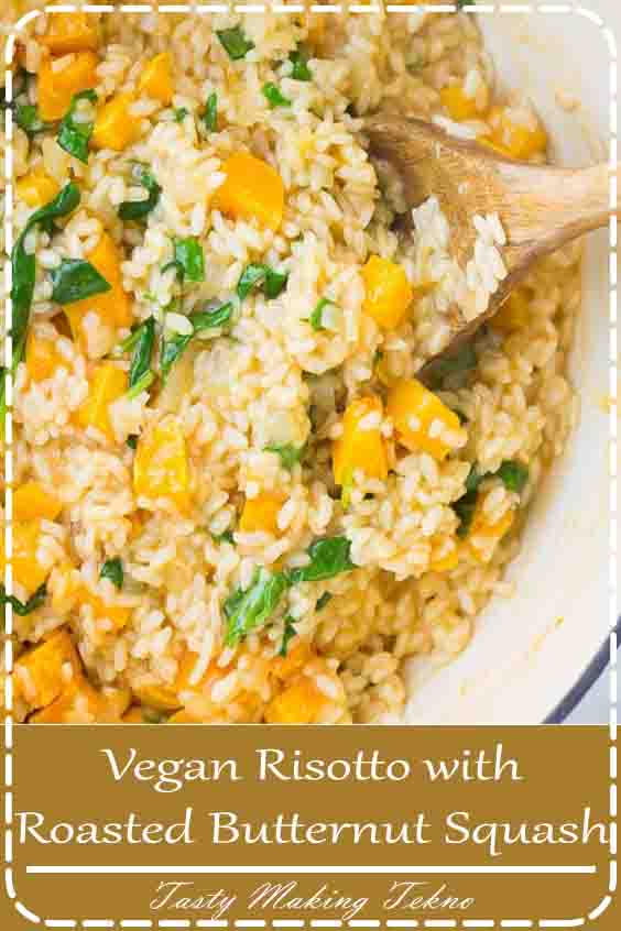 Quick and fancy, this Vegan Risotto with Roasted Butternut Squash is sure to impress! It's creamy, full of flavor and ready in around 30 minutes. The epitome of comfort food.