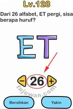 Brain Out : Dari 26 Alfabet, ET Pergi Sisa Berapa Huruf Jawaban Brain Out di Level 128