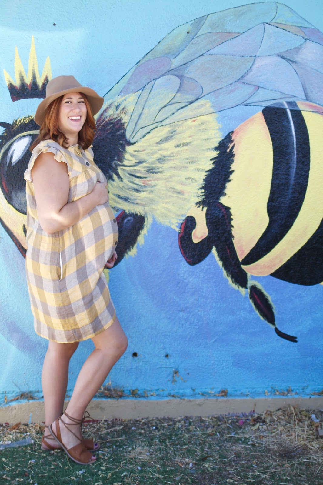 wool hat, pregnancy style, maternity style, aritzia searlas dress, mural salt lake city