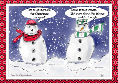 Christmas Snowmen cartoon, in which one snowman is dubious about having been given a fitness watch for Christmas...