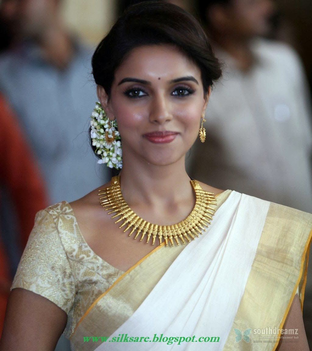 Kerala white saree in asin