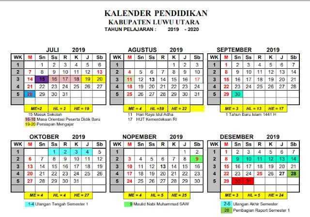 K13 : Kalender Pendidikan Kabupaten Luwu Utara Tahun Pelajaran 2019-2020