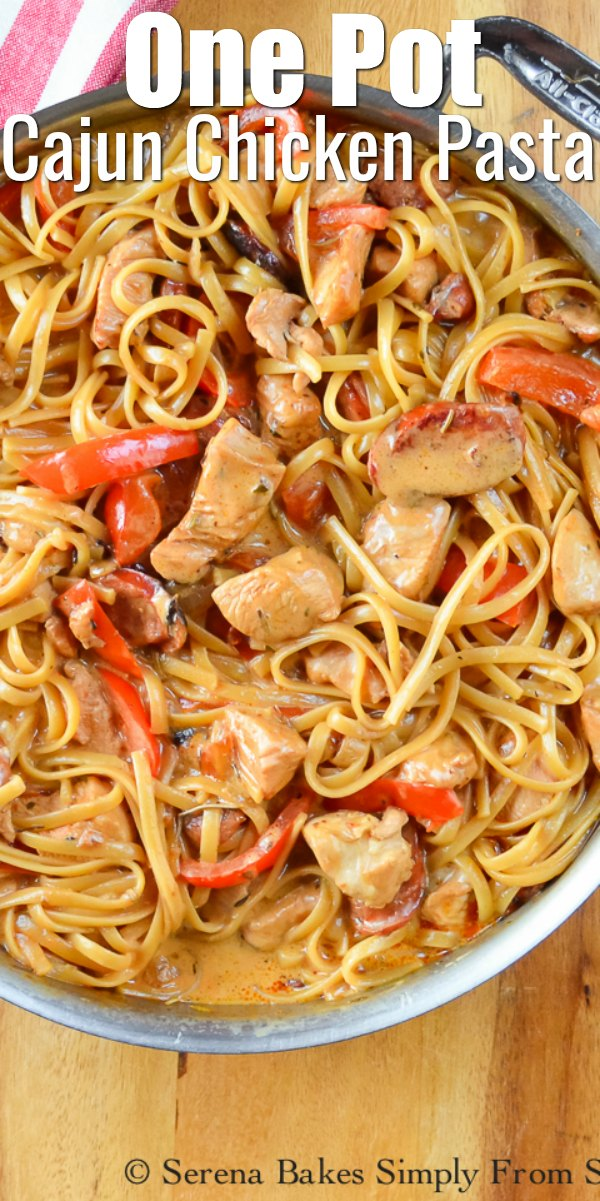 A stainless steel pot filled with One Pot Cajun Chicken Pasta.