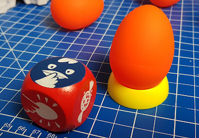 Crazy eggz game review egg in stand and action dice