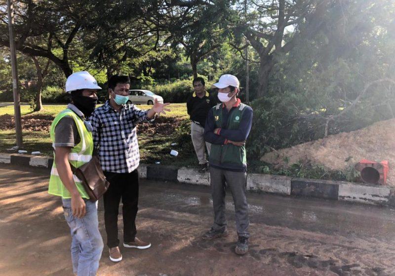 Wali Kota Batam, Muhammad Rudi, Tinjau Perbaikan Tanah Ambles di Jalan Sudirman