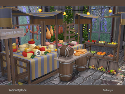 Marketplace Базарная площадь для The Sims 4 Декоративные и функциональные предметы для ваших рынков или магазинов. Включает в себя 10 предметов. Имеет 3 цветовых вариации. Предметы в комплекте: - Три киоска - две палатки - ящики с фруктами - две стойки с мясом - бочка на подставке - деревянный дорожный знак. Автор: soloriya
