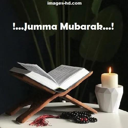 Jumma Mubarak DP with holy Quran and candle