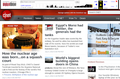 screenshot of CNET news site in the Wayback Machine as it appeared on July 4 2013