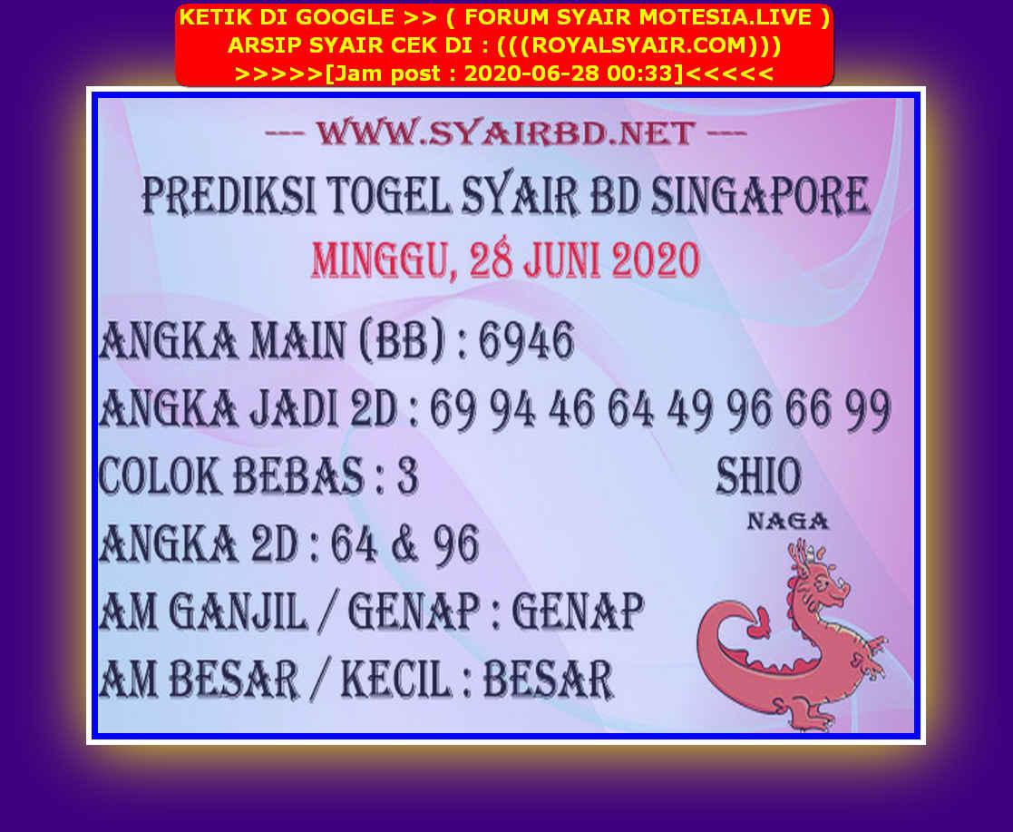 Kode syair Singapore Minggu 28 Juni 2020 198