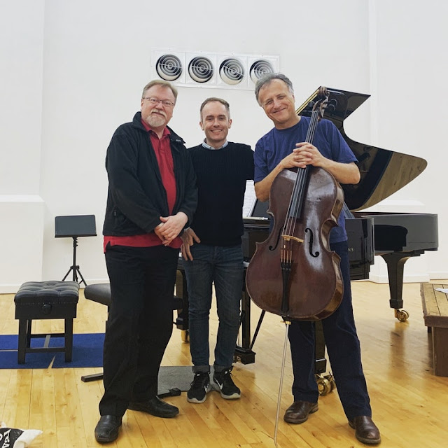 Adrian Farmer, Simon Callaghan, Raphael Wallfisch after their recording session for Coke's Cello Sonatas in June 2019