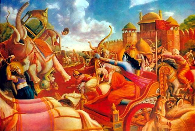 Krishna fighting