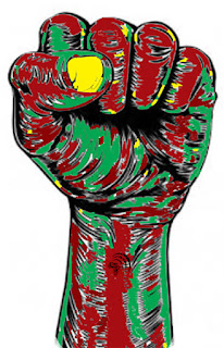 Solidarity red black green fist. Best life is precious African proverbs.